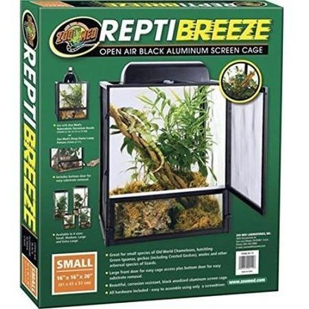 "Zoo Med Reptibreeze Open Air Aluminum Screen Cage - Black Cages & Pens Zoo Med Small (16""L x 16""W x 20""H)"