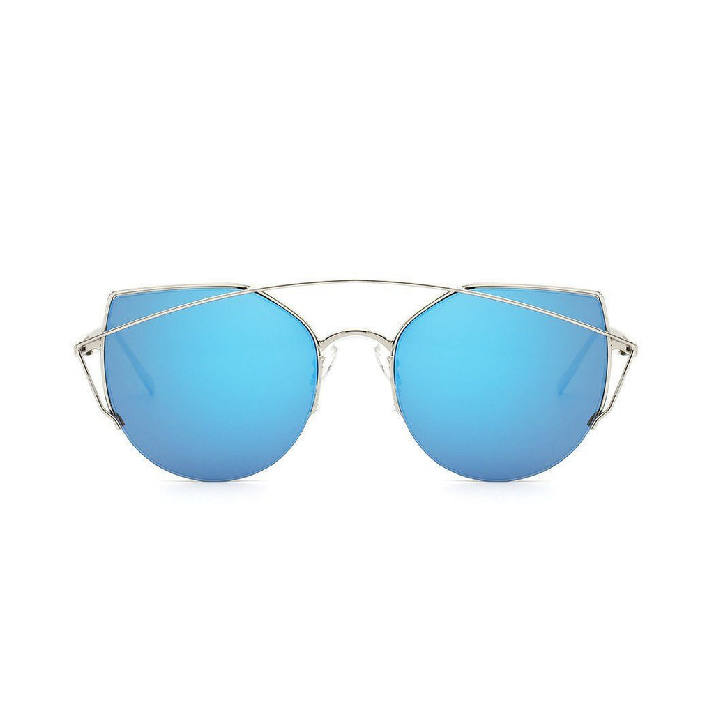 Janet in Silver + Blue Sunglasses Cat Eye - GETSUNNIES CANADA