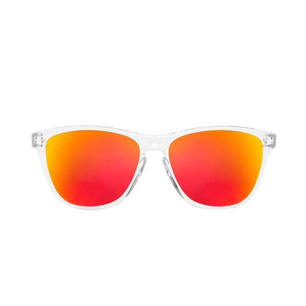 Ryan in Clear + Red Orange Sunglasses Wayfarers - GETSUNNIES CANADA