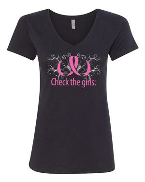 Women's Check the girls.® GLITTER t-shirt - V-Neck
