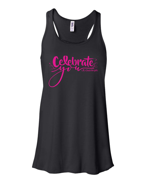 Celebrate You Adult Ladies Flowy Racerback Tank