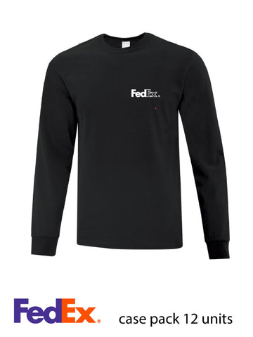 Black Unisex Everyday Cotton Long Sleeve Shirt - Left Chest decoration