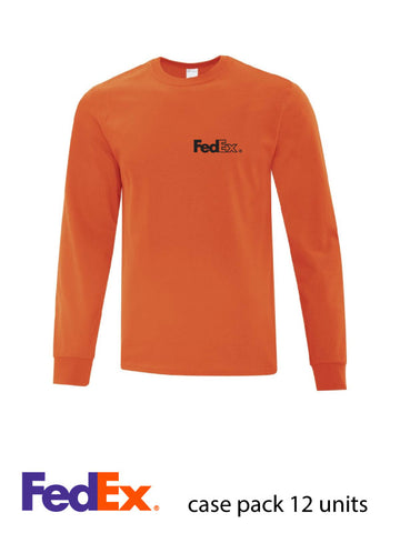 Orange Unisex Everyday Cotton Long Sleeve Shirt- Left Chest decoration