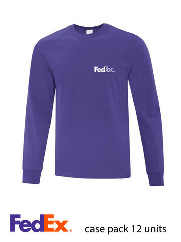 Purple Unisex Everyday Cotton Long Sleeve Shirt- Left Chest decoration