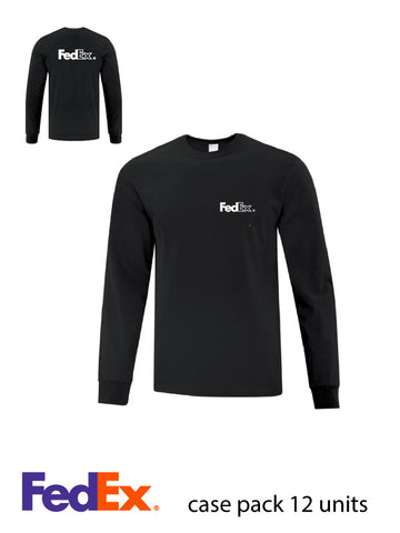 Black Unisex Everyday Cotton Long Sleeve Shirt - Left Chest & Full Back decoration