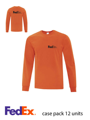 Orange Unisex Everyday Cotton Long Sleeve Shirt- Left Chest & Full Back decoration