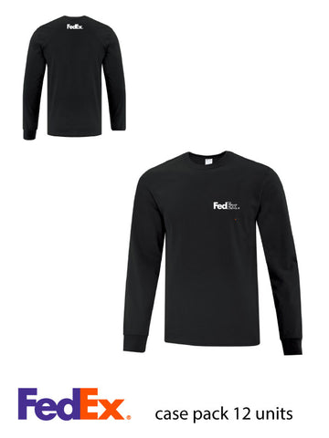Black Unisex Everyday Cotton Long Sleeve Shirt - Left Chest & Yoke decoration