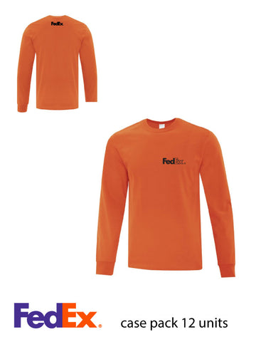 Orange Unisex Everyday Cotton Long Sleeve Shirt- Left Chest & Yoke decoration