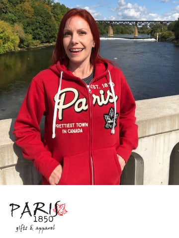"Paris 1850 - Ladies Full Zip Hoody, ""Prettiest Town in Canada""- Red"