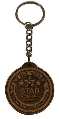 5 Star Hookah Wooden Round Key Chain