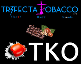 Not sold this way, Trifecta Tobacco dark is presented like this to show flavor names