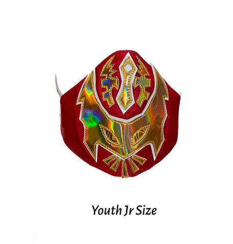 SIN CARA Lucha Libre novelty Youth JR Kids size FACEMASK - Red/Gold