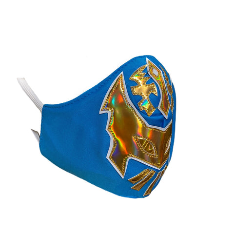 SIN CARA Lucha Libre novelty Adult size FACEMASK - Teal/Gold