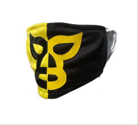 PIERROTH Lucha Libre novelty Adult size FACEMASK - Black/Yellow