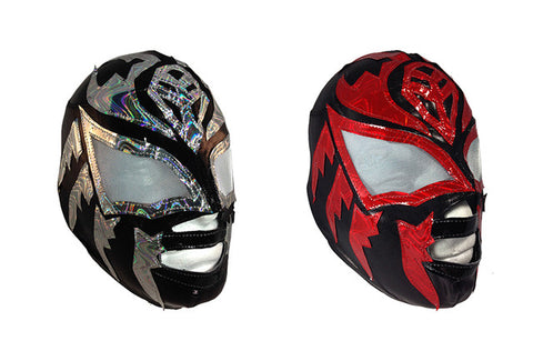2pk SOMBRA Youth LYCRA Adult Lucha Libre Wrestling Mask - RED & SILVER