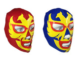 2pk DOS CARAS Youth Young Adult Lucha Libre Wrestling Mask - Red/Blue