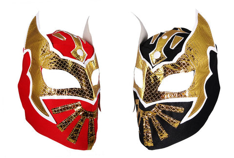 2pk SIN CARA Youth Young Adult Lucha Libre Wrestling Mask - Red/Black