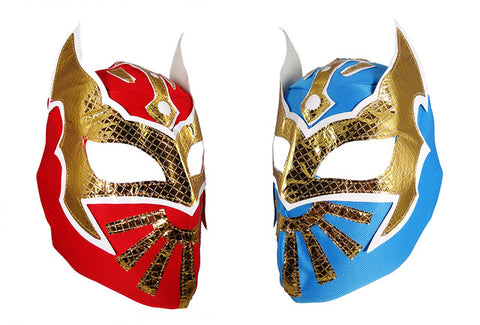 2pk SIN CARA Youth Young Adult Lucha Libre Wrestling Mask - Blue/Red