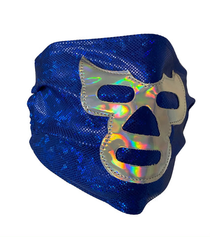 BLUE DEMON Lucha Libre novelty Adult size Lycra Glitter FACEMASK