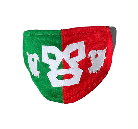 DR. WAGNER Lucha Libre novelty Adult size FACEMASK - Red/Green