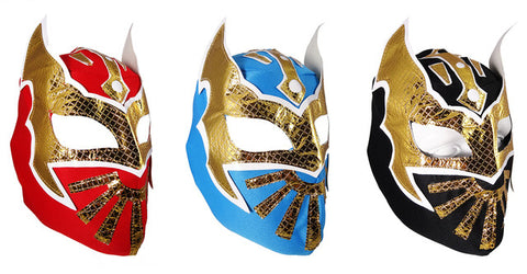 3 pk SIN CARA Youth Young Adult Lucha Libre Wrestling Mask - Blue/Red/Black