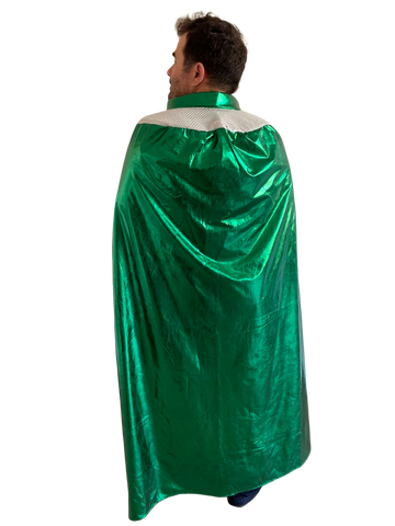 "ADULT PRO LUCHADOR 54"" Lucha Libre Halloween Costume Cape - Metallic Green"