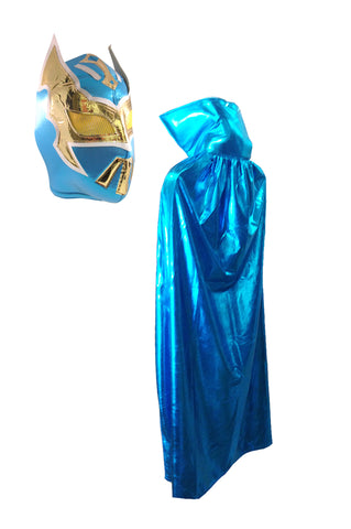 Lucha Libre Halloween costume adult Cape & Sin Cara Mask combo - Teal