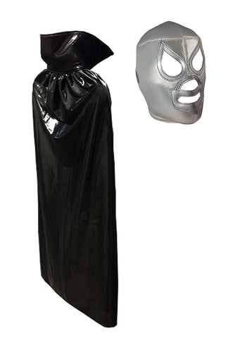 Adult Lucha Libre Halloween Luchador Costume Lycra Cape & Santo mask set