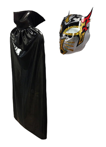 Complete Lucha Libre Costume (Adult Cape and Mask bundle) Black Cape and Silver Mask