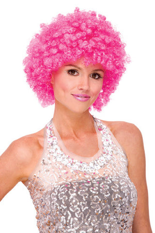 GLITTER AFRO Halloween Disco costume wig - Hot Pink