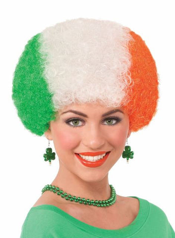 LUCKY IRISH SHAMROCK Halloween Afro Wig - Green/White/Orange