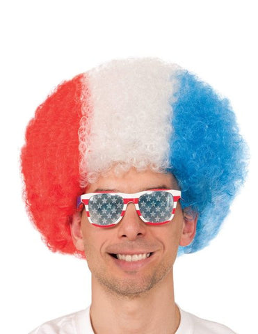 USA WORLD CUP FEVER Halloween Afro Wig - Red/White/Blue