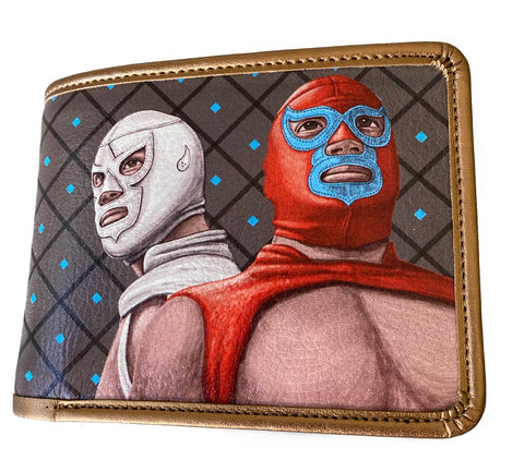Lucha Libre Handpaint Print Wallet - Silver/Red Wrestlers