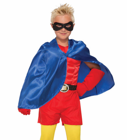 Forum Novelties Kids Halloween Costume Accessory Cape & Black Eye mask - Blue