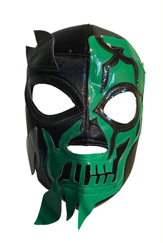 HALLOWEEN SKULL Halloween Lucha Libre Wrestling Mask (pro-fit) Black/Green