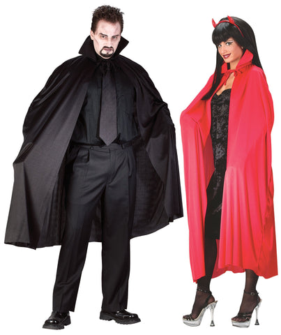 "BLACK AND RED His And Hers 45"" Adult Superhero Costume Cape set (2 pack)"