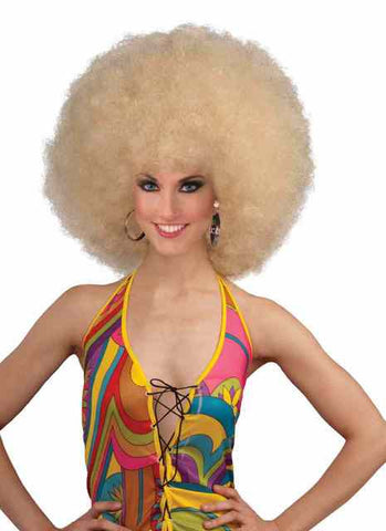 Blonde Afro 70's costume party disco hippie wig for adults