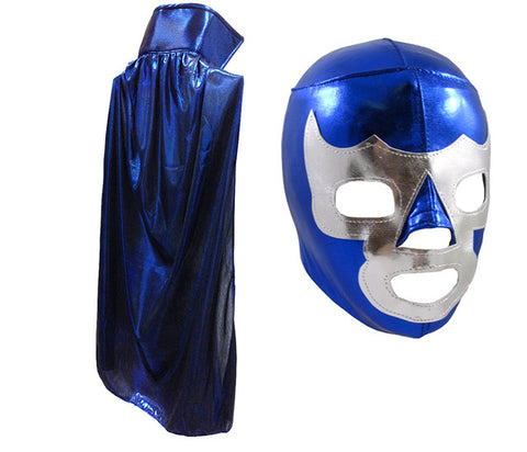 "BLUE DEMON YOUTH KIDS 30"" Lucha Libre Halloween Costume Cape & Mask - Metallic Blue"