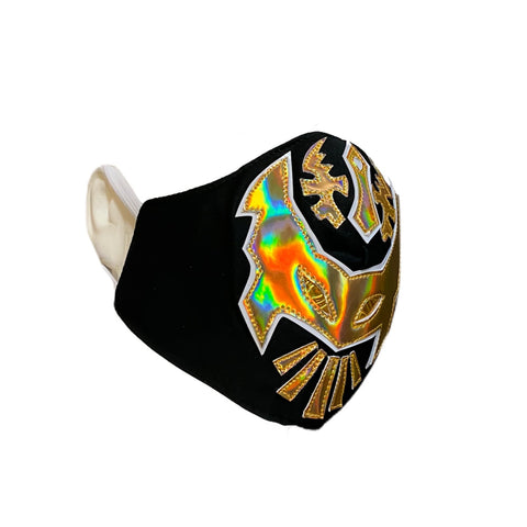 SIN CARA Lucha Libre novelty Adult size FACEMASK - Black/Gold