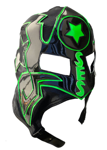 CM PUNK (pro-LYCRA) Lucha Libre Wrestling Mask - Black/Hot Green