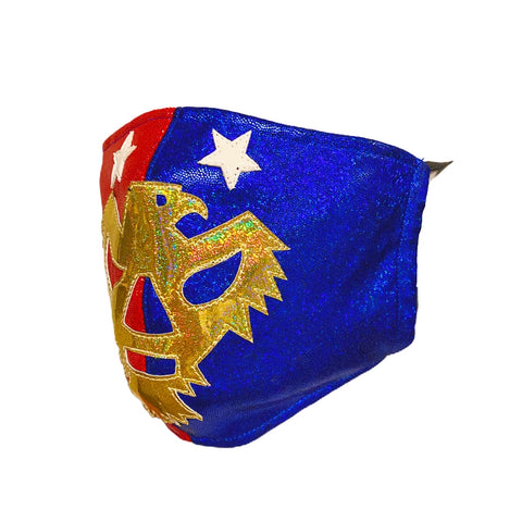 PATRIOT AMERICA Lucha Libre novelty Adult size Lycra FACEMASK - Red/Blue/Gold