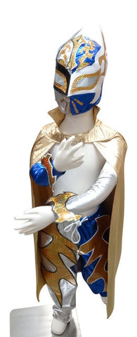 SIN CARA Complete Lucha Libre Children's Youth Halloween Costume Size 8 - Silver/Blue