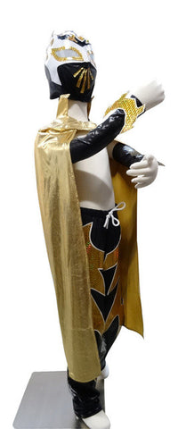 SIN CARA Complete Lucha Libre Children's Youth Halloween Costume Size 8 - Black