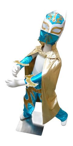 SIN CARA Complete Lucha Libre Children's Youth Halloween Costume Size 8 - Teal Blue