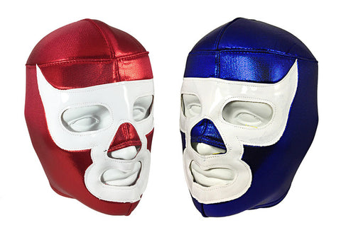 2 pack BLUE & RED LUCHA DEMON Adult Lucha Libre Wrestling Masks