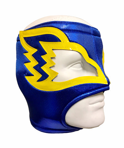 WHITE HAWK Open Top Lucha Libre Wrestling Mask (pro-fit) Blue Yellow