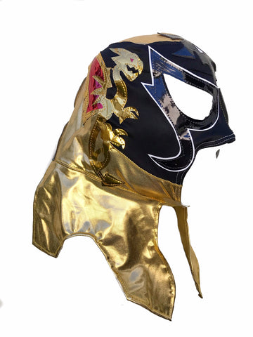 PENTAGON (pro-LYCRA) Adult Lucha Libre Wrestling Mask - Black/Gold