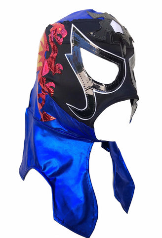 PENTAGON (pro-LYCRA) Adult Lucha Libre Wrestling Mask - Black/Blue