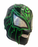SOMBRA Lucha Libre Adult Wrestling Mask (pro-Lycra) Black/Hot Green