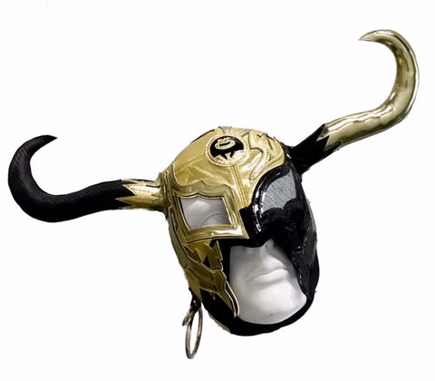 RUSH (PRO RING) Professional Adult Lucha Libre Wrestling Mask - Black/Gold